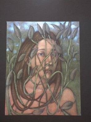 Lynette Vought; Labyrinth, 2000, Original Painting Acrylic, 8 x 10 inches. Artwork description: 241 A woman whose hair has become a plant, forming a mask. This painting is also available as a color laser print. ...