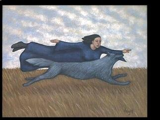Lynette Vought; Navigator, 2000, Original Reproduction, 13 x 10 inches. Artwork description: 241 A woman and her spirit guide in flight. This piece is also available as a color laser print....
