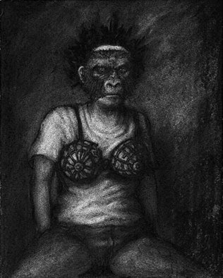 Lynette Vought; The Fitting Room, 2007, Original Drawing Charcoal, 8 x 10 inches. Artwork description: 241  A girl wearing a gorilla mask, looking in amirror ...