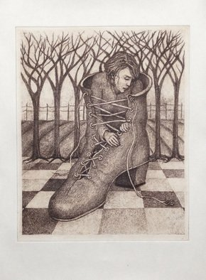Lynette Vought; The Old Woman In The Shoe..., 2013, Original Printmaking Etching, 8 x 10 inches. Artwork description: 241  Fairy tale, feminist, woman emerging, nature, trees, shoe, perspective, magic realism ...