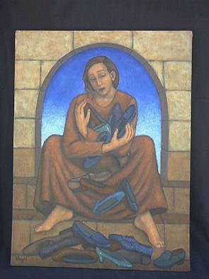 Lynette Vought; The Weight Of Her Abundance, 2001, Original Painting Acrylic, 18 x 24 inches. Artwork description: 241 A woman seated on steps within a window frame, with many shoes in her arms and at her feet....
