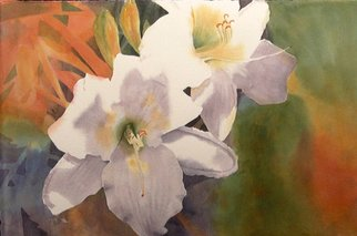 Lynn Millar; Last Lilies Of The Summer, 2006, Original Watercolor, 22 x 15 inches. Artwork description: 241  This original is part of my