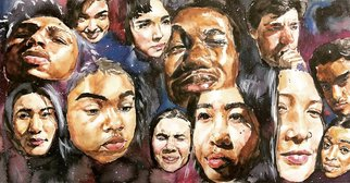 Michael-david Archibong; Colorful, 2019, Original Watercolor, 24 x 14 inches. Artwork description: 241 A diverse classroom of students painted in one picture to show how far we ve com from the seperate, but equal mind set...