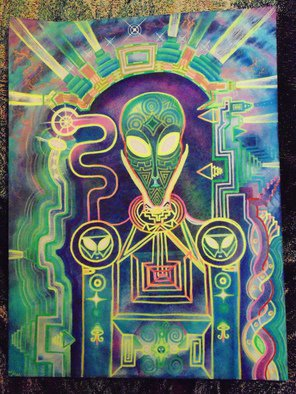 Scott Maki; Interstellar Portal, 2015, Original Painting Acrylic, 14 x 16 inches. Artwork description: 241  The Guardian steps through the star portal and travels through  interstellar space.  ...