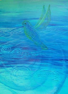 Scott Maki; Lightspeed Messenger, 2014, Original Painting Acrylic, 18 x 24 inches. Artwork description: 241   humming bird       ...
