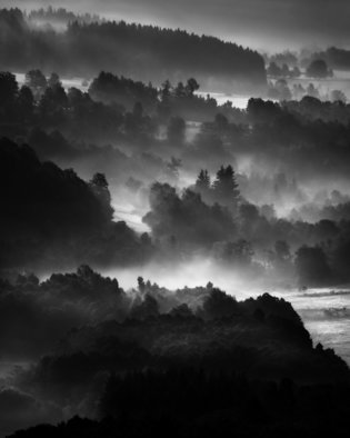 Jaromir Hron; Layers, 2010, Original Photography Black and White, 640 x 800 mm. Artwork description: 241  mountains, forest, summer, landscape, monochrome, b& w   ...