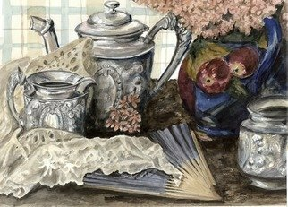 Mary Jean Mailloux; Antique Silver Tea Set, 2008, Original Watercolor, 20 x 16 inches. Artwork description: 241  This antique silver tea set with it's pounded and irregular surfaces appealed to an urge to create something nostalgic and reminiscent of the age when such items were in use.  ...
