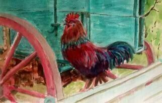 Mary Jean Mailloux; Cockdoodledoo , 2015, Original Watercolor, 11 x 9 inches. Artwork description: 241  There was no resisiting this fellow' s colourful plumage. ...