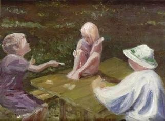 Mary Jean Mailloux; Gotcha, 2004, Original Painting Oil, 14 x 11 inches. Artwork description: 241 Friendly card game on a summer day. The sun catches the smallest member as she realizes she has been trumped by her brother. No bother shes bright she will catch him on the next game ...