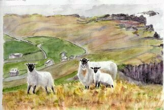 Mary Jean Mailloux; Irish Coast, 2015, Original Watercolor, 7 x 10 inches. Artwork description: 241  The majestic rolling hills and ragged cliffs buffeted by the Atlantic Ocean off the Northern Irish Coast line are the inspiration for these two pieces. ...