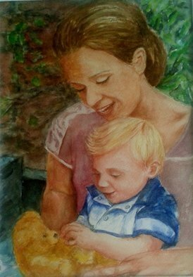 Mary Jean Mailloux; La Tendresse, 2014, Original Watercolor, 9 x 11 inches. Artwork description: 241  Un moment intime partage entre maman et bebe. A precious moment shared between mother and child ...
