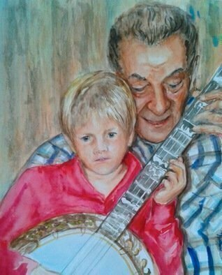 Mary Jean Mailloux; The Banjo Lesson, 2016, Original Watercolor, 8 x 10 inches. Artwork description: 241  While the enthusiastic banjo player moves his fingers on the cords the child strums his first tune. ...