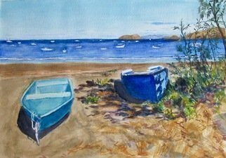 Mary Jean Mailloux; Beached, 2020, Original Watercolor, 11 x 7.5 inches. Artwork description: 241 blue and beige, sun and shadow, texture and tone, all of these elements caught my attention.  Shallow waves on the shore, and bobbing boats out at sea create a desire to be there, to be warm and to drift along like the sand in the wind. ...