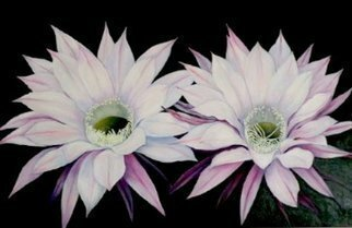 Mary Jean Mailloux; Cactus Flowers, 2014, Original Painting Oil, 36 x 24 inches.