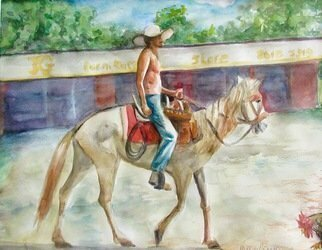 Mary Jean Mailloux; El Caballero, 2020, Original Watercolor, 12.5 x 9.5 inches. Artwork description: 241 A great pride of ownership emanated from this caballero.  It appeared his poor emaciated horse could hardly stand, but along they went, masters of the road.  ...