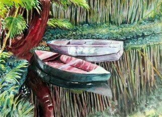 Mary Jean Mailloux; Giverny Punts, 2020, Original Watercolor, 14 x 10.4 inches. Artwork description: 241 What artist could fail to be mesmerized by the idyllic calmness and beauty of Monet s waterlily garden. The two punts floating by the tree just waiting for someone to take them under the many bridges and through the myriad of waterlilies. ...