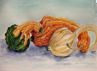 Mary Jean Mailloux; Gourd Friends, 2013, Original Watercolor, 12 x 10 inches. Artwork description: 241    a study in texture and form. So much fun to explore ...