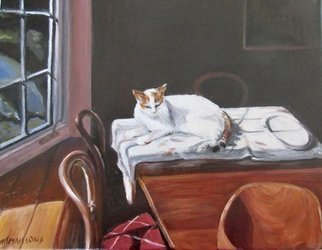 Mary Jean Mailloux; Still Life With Cat, 2018, Original Painting Oil, 14 x 11 inches.