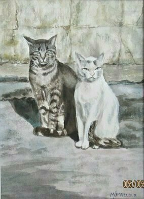 Mary Jean Mailloux; Village Surveillance, 2020, Original Watercolor, 6 x 8 inches. Artwork description: 241 Two beautiful felines made their status as territorial guards very apparent to any who would try to say otherwise.  Their statuesque poses invited a permanent record. ...
