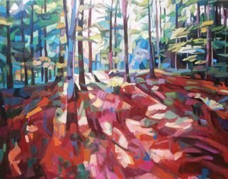 Maja Djokic Mihajlovic; Red Forest, 2018, Original Painting Oil, 50 x 70 cm. Artwork description: 241 forest, wood, summer, red, autumn...
