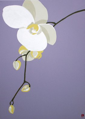 Maja Vidovic; Orchid, 2008, Original Painting Acrylic, 50 x 70 cm. Artwork description: 241  Orchid painting from Energy twirll series representing crown chakra. ...