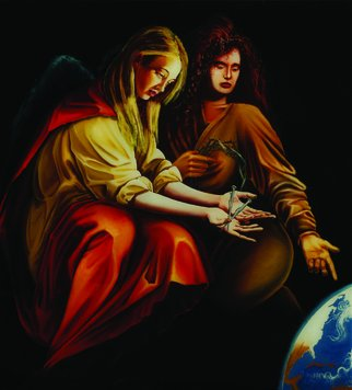 George Makara; The Time Of Dues, 2004, Original Painting Oil, 44 x 56 inches. Artwork description: 241  Mother and Daughter calling for the Earth to heal. ...