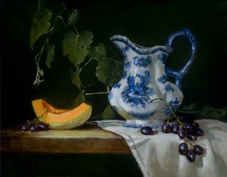 Barbara A Jones; Blue Pitcher with Canteloupe, 2010, Original Printmaking Giclee, 14 x 11 inches. Artwork description: 241 Canvas print of Original Oil  ...