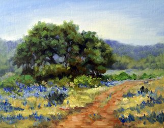 Barbara A Jones; Hill Country Bluebonnets, 2012, Original Painting Oil, 10 x 8 inches.