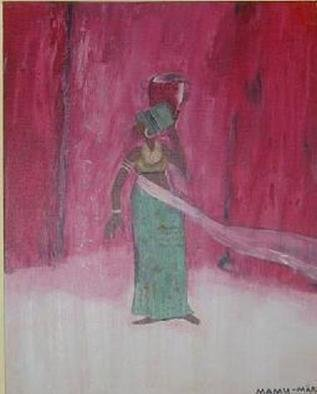 Mamu Art; Afrikanerin, 2006, Original Painting Acrylic, 40 x 30 cm. Artwork description: 241  Kleine afrikanische Frau mit Krug ganz in rot. ...