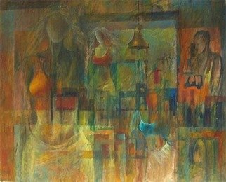 Maqbool Ahmed; Cityscape, 2008, Original Painting Oil, 39 x 32 inches. Artwork description: 241  Abstract cityscape with figures. ...