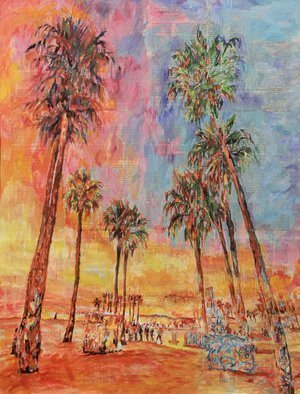 Marat Cherny; Beach Palm Trees The Sunset, 2018, Original Painting Other, 23 x 31 inches. Artwork description: 241 Painting Gouache, Watercolor, Paper and Pencil on Paper and Other. Painting gouache, watercolor and pencil on glued together book pages. ...
