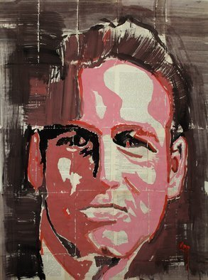 Marat Cherny; Portrait, 2018, Original Paper, 23.6 x 31.5 inches. Artwork description: 241  The picture is painted with gouache on glued together book pages. ...