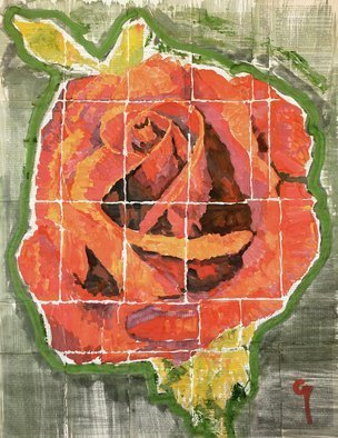 Marat Cherny; Red Rose, 2018, Original Painting Other, 23.6 x 31.5 inches. Artwork description: 241 The painting is painted in gouache and watercolor on glued book pages. ...