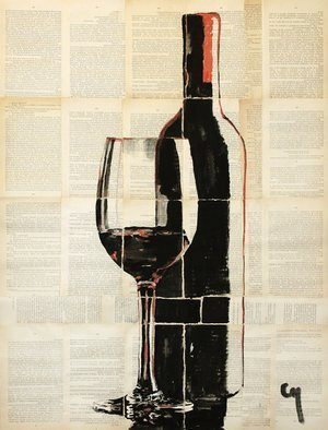 Marat Cherny; Red Wine, 2018, Original Painting Other, 23.6 x 31.5 inches. Artwork description: 241  The painting is painted in gouache and watercolor on glued pages of the book. ...