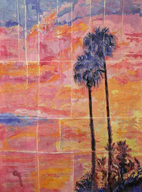 Marat Cherny; Sunset And Palm Trees, 2018, Original Painting Other, 23.6 x 31.5 inches. Artwork description: 241 PaintingSize: 31. 5 H x 23. 6 W x 0. 1 inShips in a tube Painting: Gouache, Watercolor and Paper on Paper and Other.Painting gouache and watercolour on glued together book pages. ...