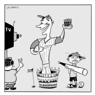 Marc Crisafulli; Baseball Back In Washington, 2002, Original Illustration, 6 x 6 inches. Artwork description: 241 Writer Mark Gauvreau Judge makes a plea for baseball' s return to D. C. ,and puts in a request for the construction of a real stadium while he' s at it. ...