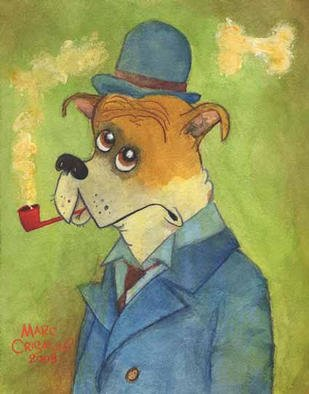Marc Crisafulli; Pipe Smoking Dog, 2003, Original Watercolor, 8 x 10 inches. Artwork description: 241 This subject of this painting is a real life boxer, Rocky, who lives in Philadelphia with his owner, Laura....
