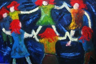 Marcia Pinho; Dance Round, 2005, Original Painting Oil, 80 x 90 cm. Artwork description: 241   Private collector in USA   Expressionism, figurative, painting, acrylic and ink, canvas                                            ...
