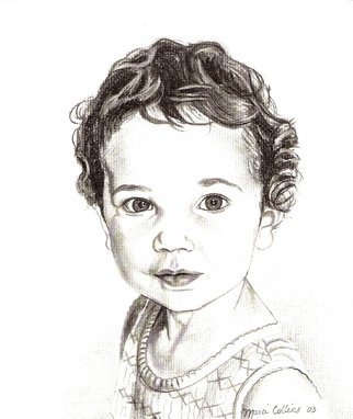 Marcia Collins; LIttle Girl, 2003, Original Drawing Charcoal, 11 x 14 inches. Artwork description: 241  Commissioned Portrait ...