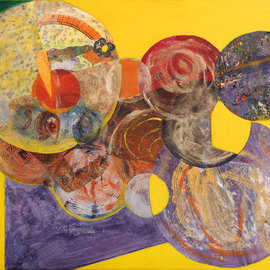 Margaret Thompson, , , Original Collage, size_width{Globes-1237385064.jpg} X 28 inches