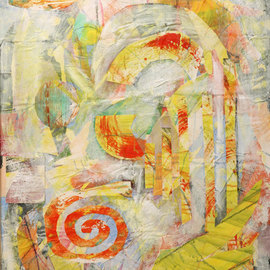 Margaret Thompson, , , Original Collage, size_width{In_the_beginning-1237386687.jpg} X 30 inches
