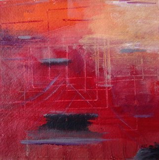 Margaret Thompson; The Future Is Red, 2016, Original Mixed Media, 15 x 15 inches. Artwork description: 241 Acrylic, collage, mixed media on paperstark, spare, landscape on paperMy woman falls, dances, balances, depending on her phase of life. Her presence humanises an otherwise abstract landscape...