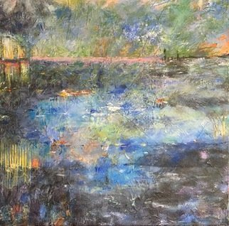 Margaret Thompson; Lakeside 2, 2017, Original Mixed Media, 60 x 60 cm. Artwork description: 241 evocative, impressionistic...
