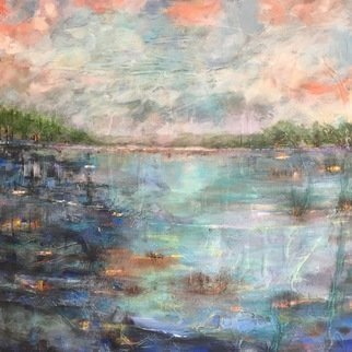 Margaret Thompson; Lakeside 3, 2017, Original Mixed Media, 60 x 60 cm. Artwork description: 241 evocative, dreamlike, impressionistic...