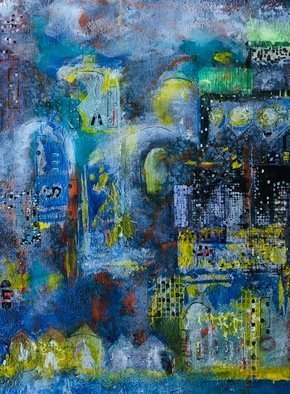 Margaret Thompson; Urban Lights, 2013, Original Mixed Media, 40 x 50 cm. Artwork description: 241 This is a mixed media piece, a collage of painted and found materials, using the theme of arches and hidden spaces. Acrylic is the medium. ...