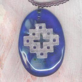 Margaret Stone, , , Original Glass Jewelry, size_width{Celtic_on_Blue_detail-1098733736.jpg} X 3 inches