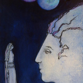 Margaret Stone, , , Original Painting Acrylic, size_width{Discussing_The_Twin_Moons-1535748881.jpg} X 14 inches