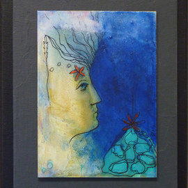 Margaret Stone, , , Original Painting Acrylic, size_width{Her_Head_In_The_Clouds-1535749017.jpg} X 10 inches