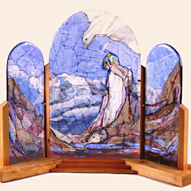 Margaret Stone, , , Original Glass, size_width{Journey_to_the_Sacred_Mountain-1222548255.jpg} X 21 inches