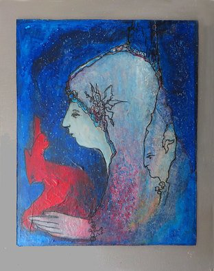 Margaret Stone; Storytime, 2016, Original Mixed Media, 11 x 14 inches. Artwork description: 241  This painting is acrylic and Ink. Perhaps she is magical in a sense, a child of the cosmos. She just evolved as I painted, out of the layers of colors and forms. This painting is on a prepared panel and is mounted on a stretched canvas ready ...